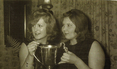 Sheila Haynes (left) and May Knapp with the RAF Challenge Cup