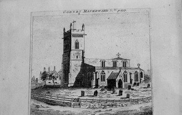 A drawing of St. Denys' Church c. late 1700s