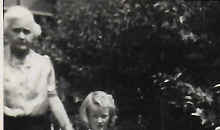 Sandra Casey aged about 5 with Mrs Price c. 1948