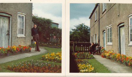 Fred Dann in the front garden of Field Cottage, c. 1960s