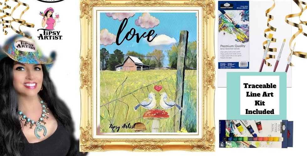 Love Birds on the Farm ~ Painting  Kit