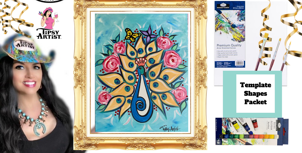 Peacock with Roses & Butterflies ~ Painting Party Pack