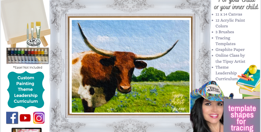 Longhorn Steer in the Bluebonnets ~ Painting Party Pack