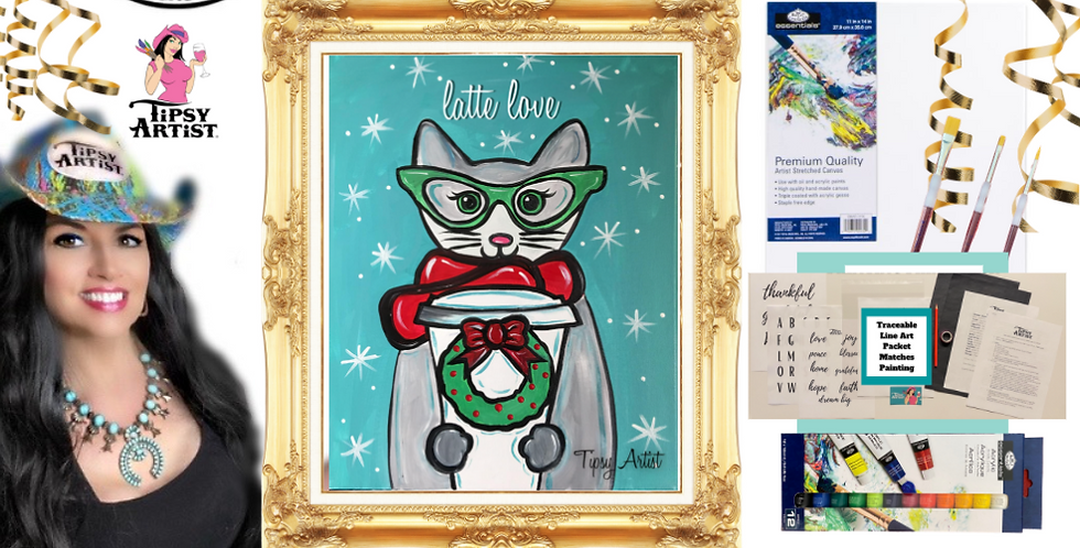 Latte Love Christmas Cat Painting Kit ~ Painting Party Gift