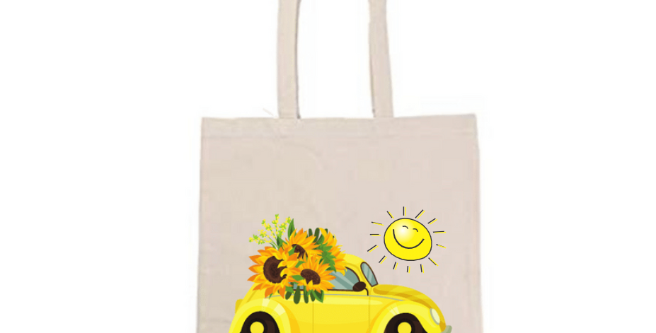 Sunny Sunflower Love Bug Tote Bag ~ Painting Kit