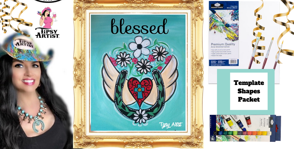 Horse Shoe with Blessed Angel Wings ~ Painting Party Pack