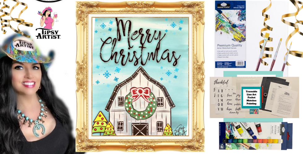 White Christmas Barn Painting Kit ~ Painting Party Gift