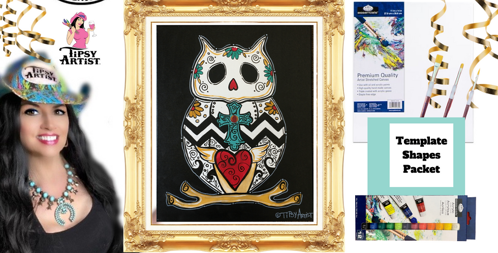 Owl Sugar Skull ~ Painting Party Pack