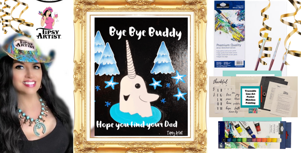 Narwhal  Painting Kit ~ Painting Party Gift