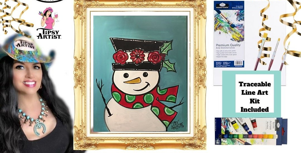 Waving Snowman ~ Painting Party Gift