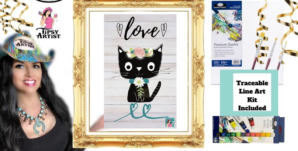 Daisy Love Cat ~ Painting Party Gift