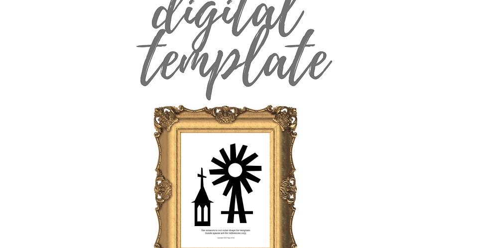 Church & Windmill Digital Template Pack