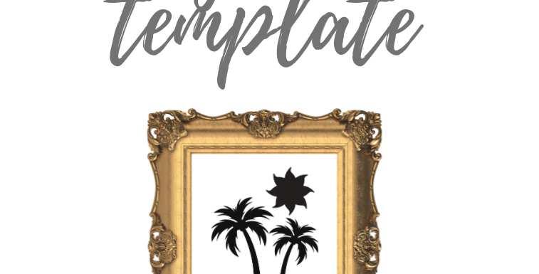 2 Palm Trees and Sun Digital Template Pack