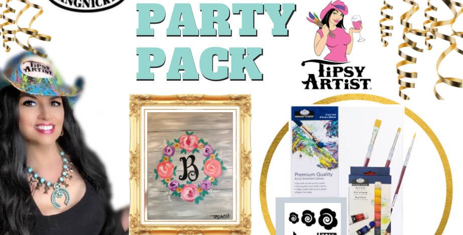 Monogram Wreath Painting Party Pack