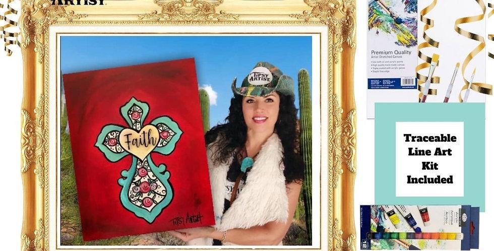 Bright Floral Faith Cross ~ Painting Kit