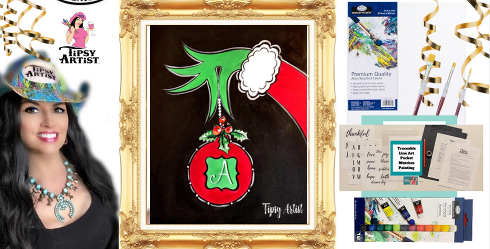 Grinch Monogram Ornament Painting Kit ~ Painting Party Gift