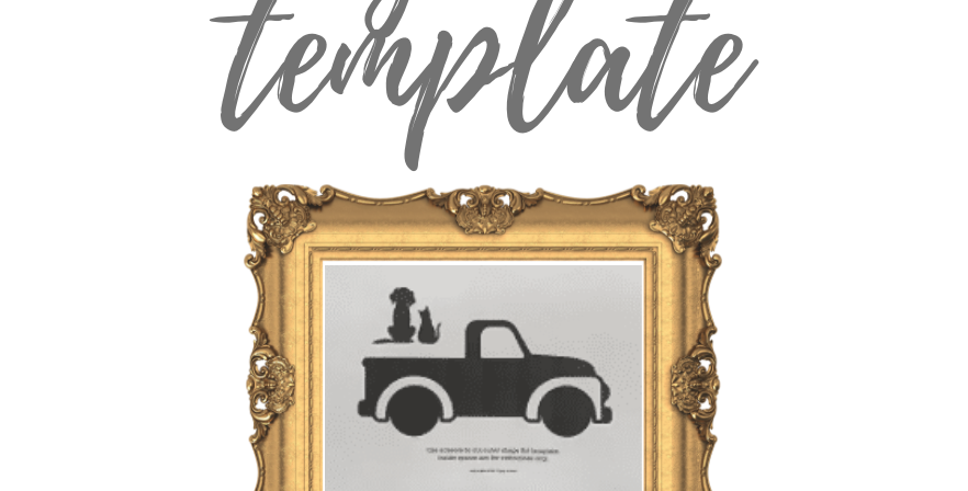 Pickup Truck with Dog & Cat Template