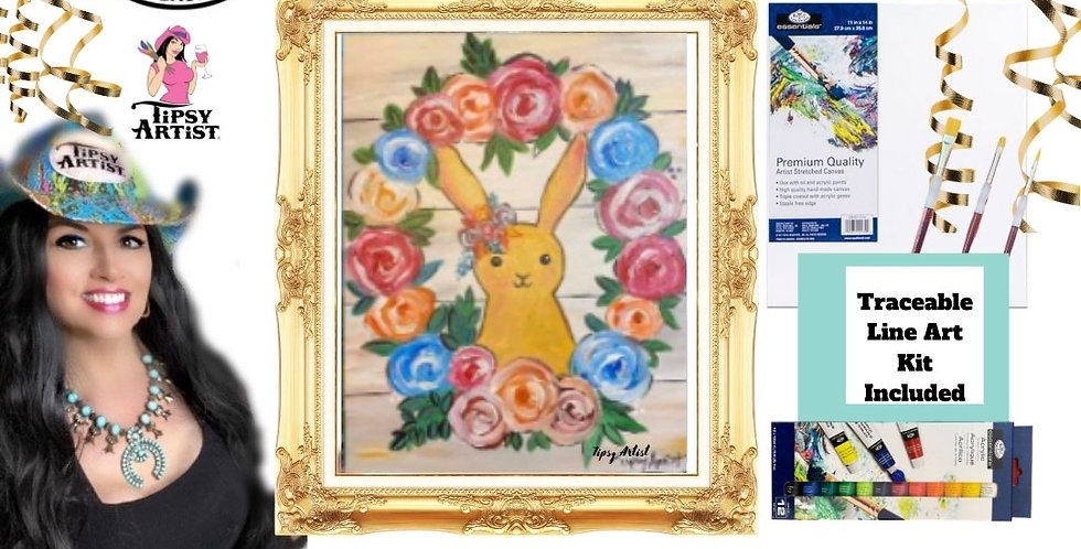 Bunny Wreath on Shiplap ~ Painting Kit