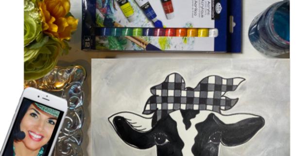 Buffalo Check Bandana Cow Head Painting Kit ~ Painting Party Gift Pack