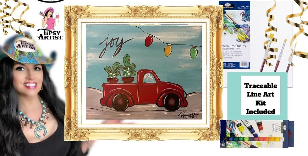 Joy Christmas Pickup with Cactus ~ Painting Party Gift