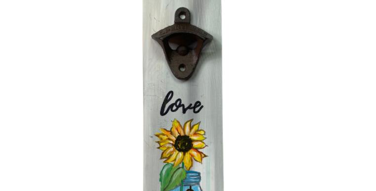 Sunflower Mason Jar Bottle Opener on Wood ~ Painting Kit