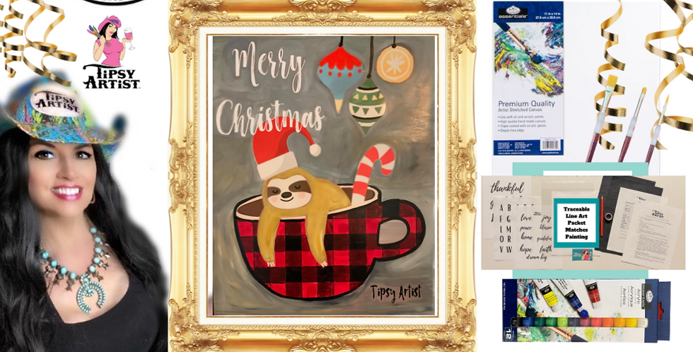 Christmas Sloth Buffalo Plaid Coffee  Painting Kit ~ Painting Party Gift