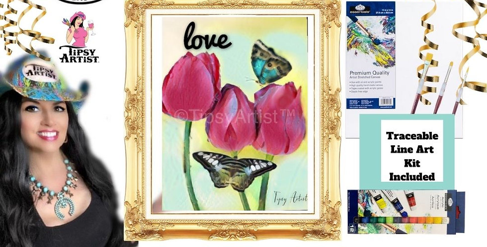 Love Tulips with Butterflies ~ Painting Kit