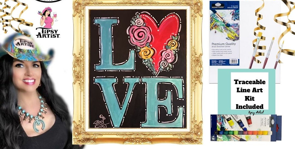 LOVE Heart with Roses ~ Painting Kit