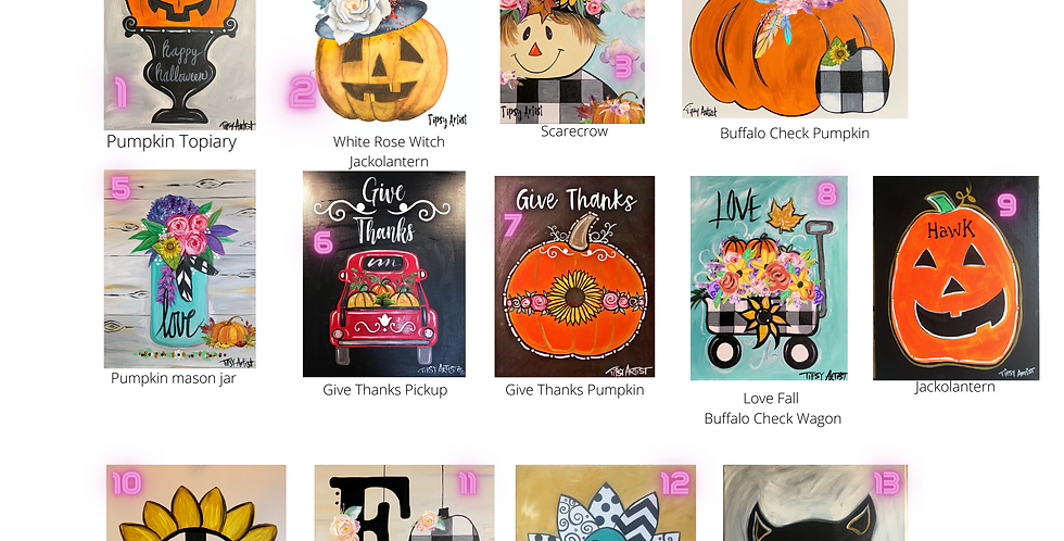 Pick Your Fall Painting Traceable Pack with Graphite Paper