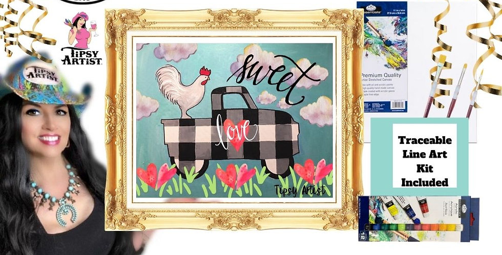 Sweet Love Chicken Buffalo Plaid Pickup~ Painting Kit