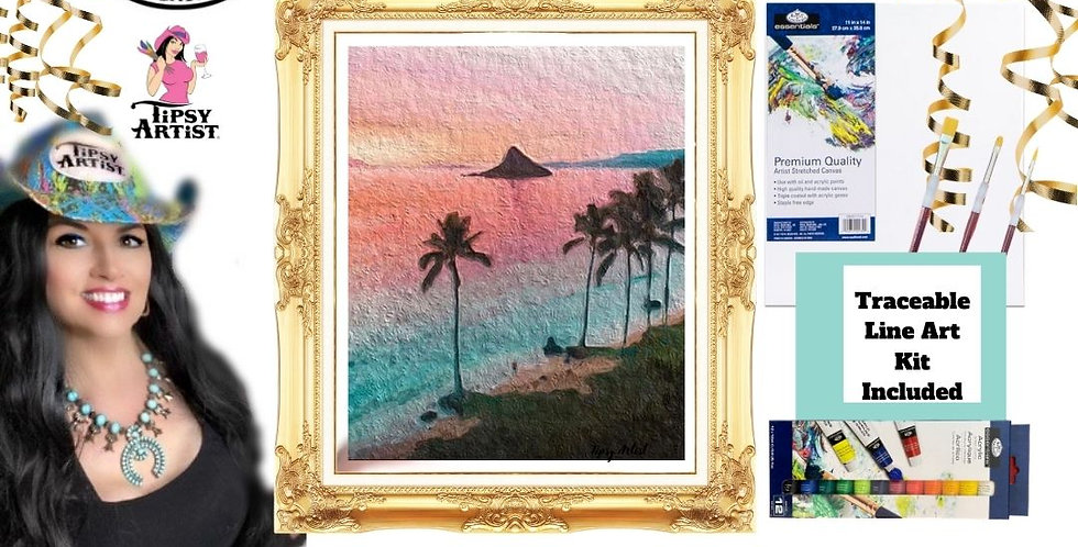 Pink Sunset with Palm Trees Painting Kit