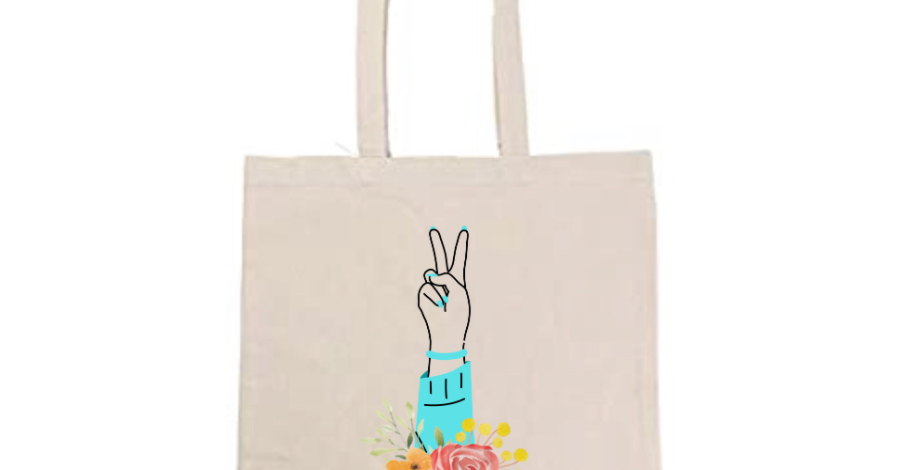 Peace Hand with Roses Tote Bag ~ Painting Kit