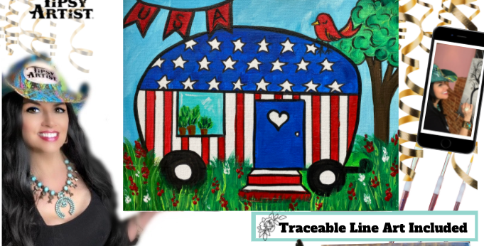 4th of July Camper ~ Painting Kit & Online Class