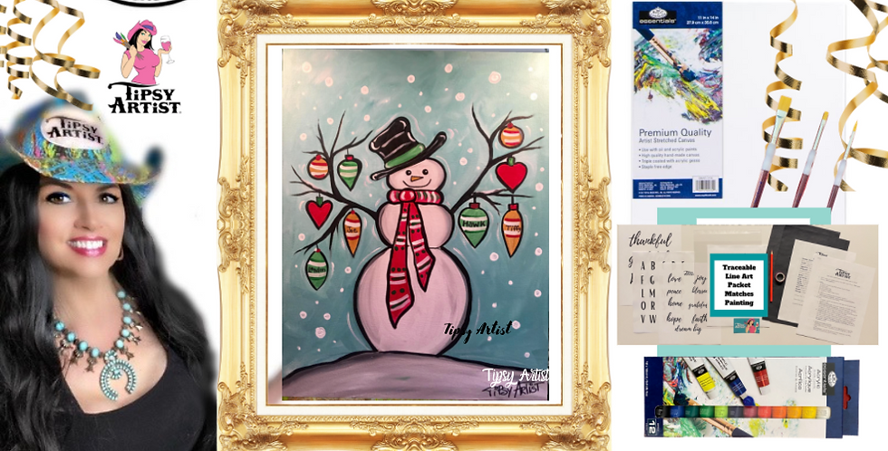 Snowman with Ornaments Painting Kit ~ Painting Party Gift