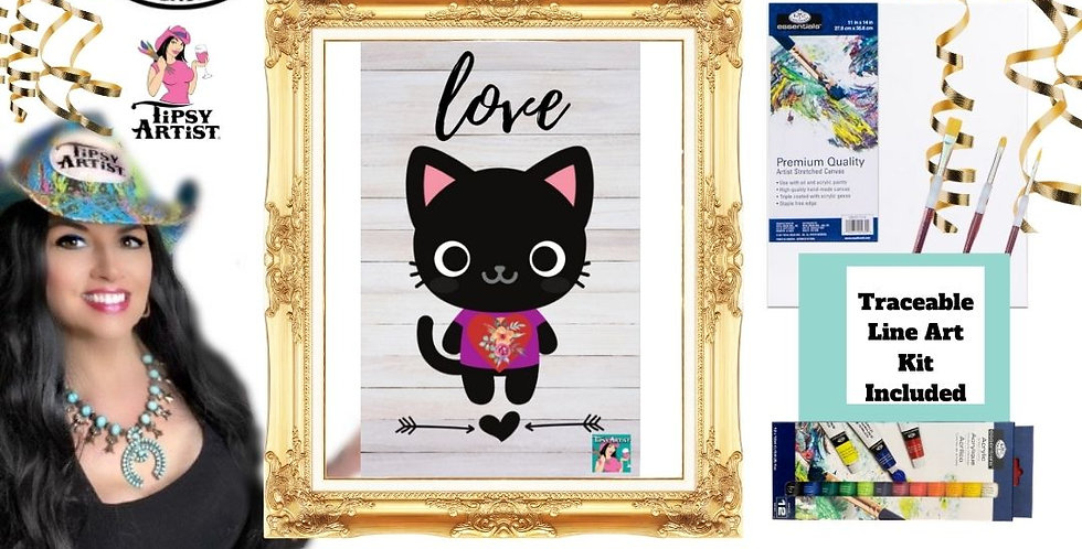My Heart Love Cat ~ Painting Party Kit