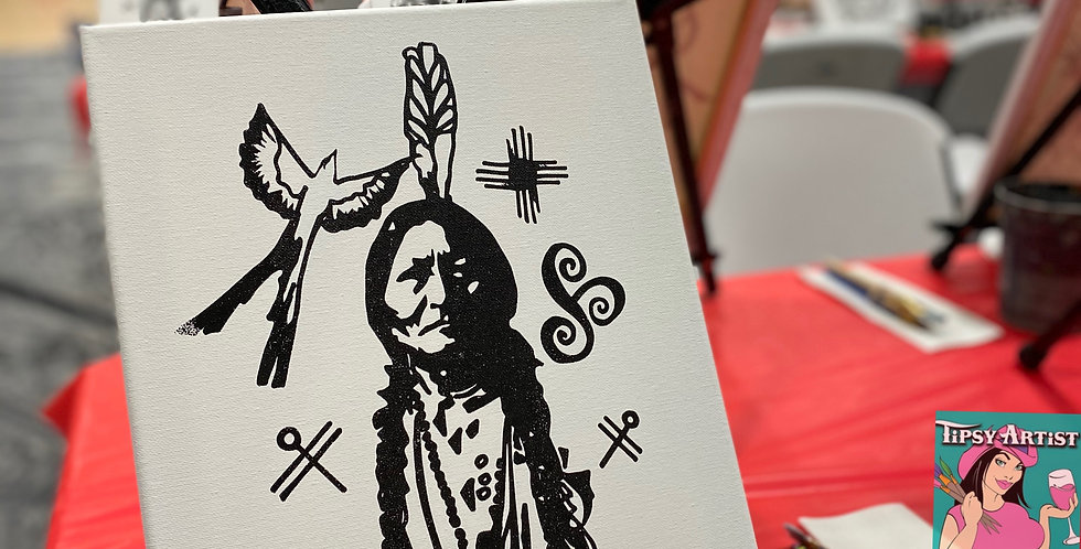 Sitting Bull Design on 11 x 14 Canvas