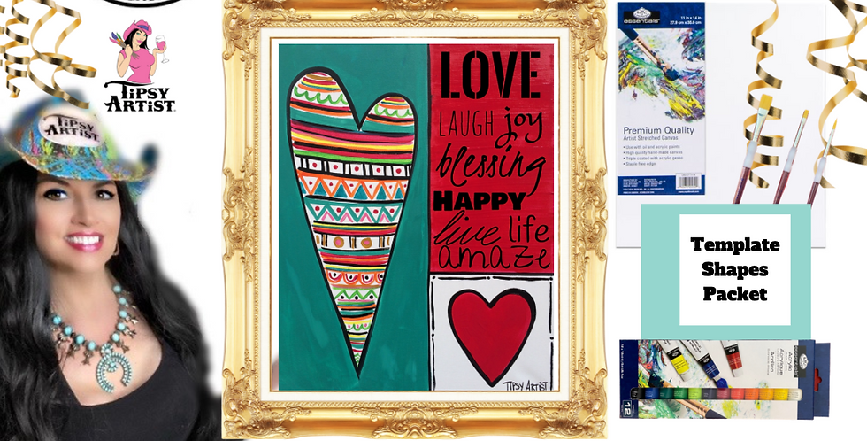 Love Quilt Heart   ~ Painting Party Pack