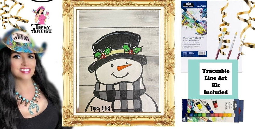 Smiling Buffalo Check Snowman on Shiplap ~ Painting Party Gift