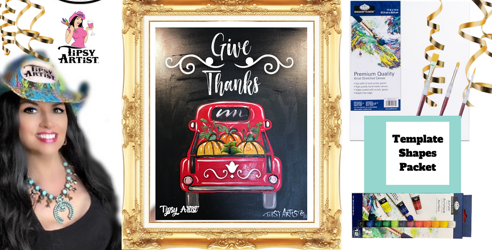 Give Thanks Pumpkins in a Pickup Truck bed ~ Painting Party Pack