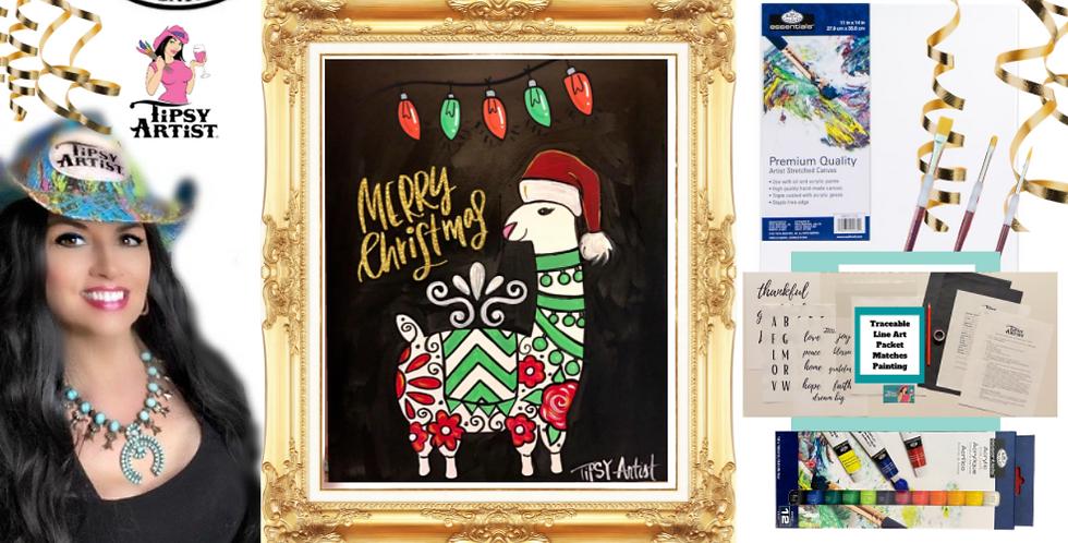 Santa Llama Painting Kit ~ Painting Party Gift