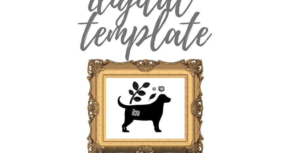 Dog/Leaf/Feather/2 Rose Digital Template Pack