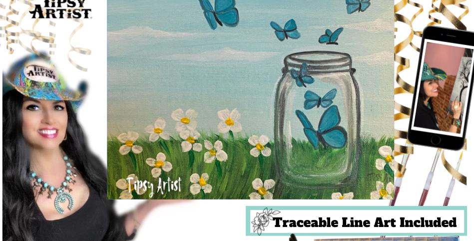 Butterflies Mason Jar & Daisies ~ Painting Kit