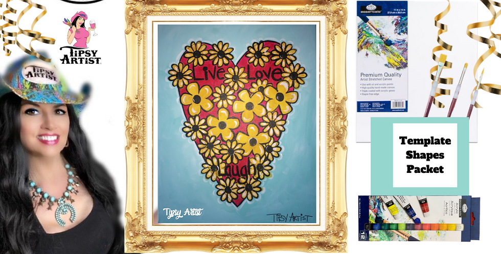 Live Love Laugh Daisy & Sunflower Heart ~ Painting Party Pack