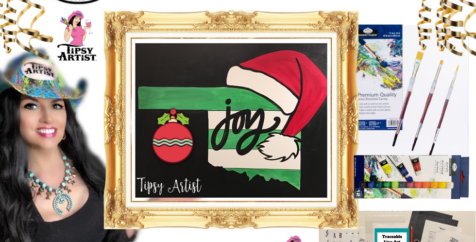 Santa Hat Joy Custom State  Painting Kit ~ Painting Party Gift