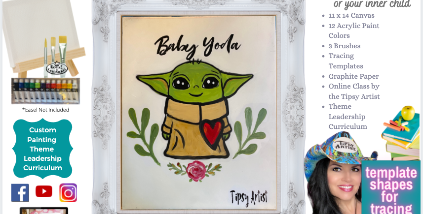 Baby Yoda painting Party Pack