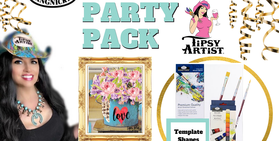 Roses & Feathers in a Vintage Pot ~ Painting Party Pack