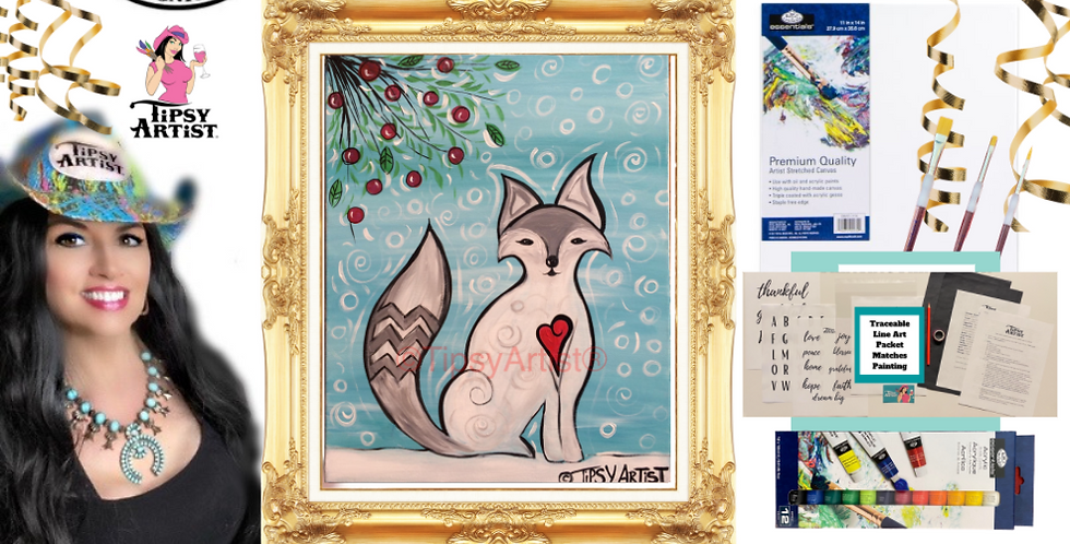 Winter Fox Painting Kit ~ Painting Party Gift