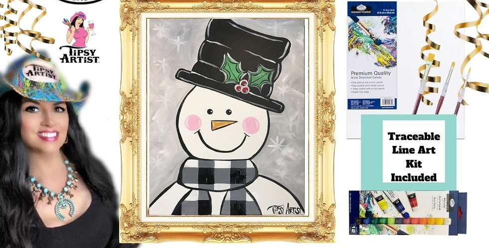 Buffalo Check Snowman ~ Painting Party Gift
