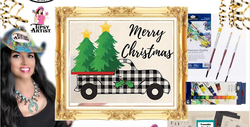 Buffalo Check Christmas Pickup Painting Kit ~ Painting Party Gift