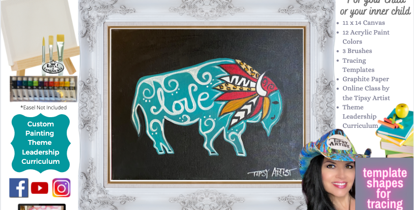 Headdress Bison ~ Painting Party Pack